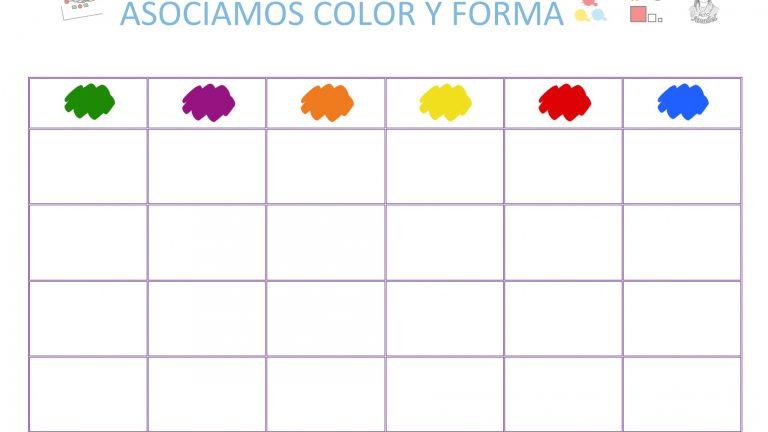 Panel de asociación de formas y colores